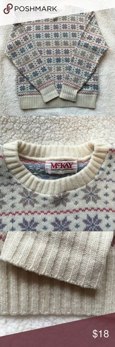 Vintage winter sweater Super soft and perfect for winter! In perfect condition except for a tiny little stain on the bottom hem area(pictured). Feel free to leave comments or make me an offer! *ships same day as order placed* Vintage Sweaters Crew & Scoop Necks