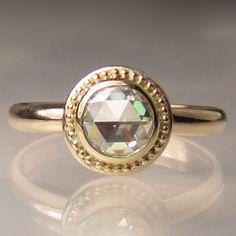 14k Gold Granulated Rose Cut Forever Brilliant Moissanite Engagement Ring by JanishJewels on Etsy https://www.etsy.com/listing/155646814/14k-gold-granulated-rose-cut-forever