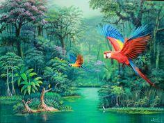 Macaw art by José Moreno Aparicio Bali Painting, Bird Painting Acrylic, Garden Painting, Watercolor Bird, Graffiti Wall Art, Mural Wall Art, Beautiful Landscape Paintings, Jungle Art, Haitian Art