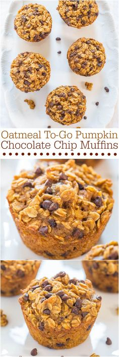 so great for a breakfast or snack for kid! Oatmeal To-Go Pumpkin Chocolate Chip Muffins - Like having a bowl of warm pumpkin oatmeal in portable muffin form! Fast and easy! Breakfast And Brunch, Breakfast Recipes, Dessert Recipes, Breakfast Cookies, Breakfast Ideas, Oatmeal Breakfast Muffins, Pumpkin Breakfast, Oat Muffins, Think Food