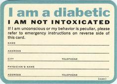 I am a diabetic card. Type 1 diabetes wallet card