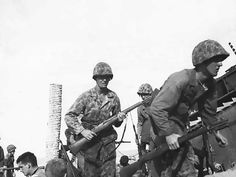 U.S. Marines during the Battle of Tarawa.