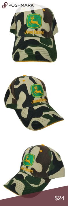John Deere - Strapback Cap / Dad Hat - Camouflage John Deere - Adjustable Strapback Cap / Hat     ( HT-2 )  Size = OSFA - Adjustable Strapback  Color =  Camouflage   Hat will be shipped in a box John Deere Accessories Hats