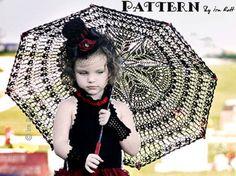 New CROCHET PATTERN, Victorian Goth, Steampunk Style Lace Parasol, Crochet Pattern in PDF