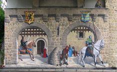 La fresque des Chevaliers, Aurec-sur.Loire, France