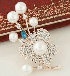 Rose Gold Stone Studded Flower Brooch With Pearls