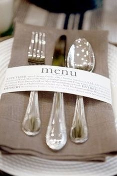 Using the napkin ring is great inexpensive way to tell your guest the menu. So cute for a wedding, party or a large fundraiser!
