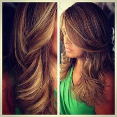 Sandy blonde with a rich dark chocolate base. Used bayalage, ombre and traditional highlights to achieve this placement.