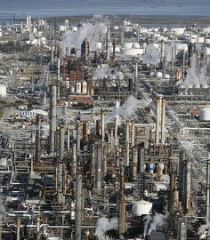 Photograph:An oil refinery in Texas City is one of many such facilities in the oil-rich U. state of Texas. Miles and miles of oil refineries you see in TX. Oil Rig Jobs, Chemical Plant, Oil Platform, Chemical Engineering, Control Engineering, Oil Refinery, Oil And Gas, City Photo, Texas