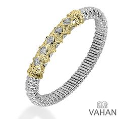 A checkered contrast of pavé diamonds and 14k gold beads make for a vibrant 8 millimeter cuff bracelet! #VahanPinterest