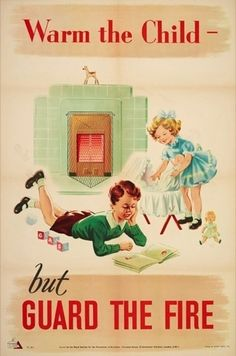poster published by RoSPA and printed by Loxley Brothers Sheffield - home safety - artist initials FT 1950s. The Royal Society for the Prevention of Accidents