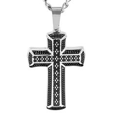 West Coast Jewelry Crucible Stainless Steel Antiqued Cross Pendant Necklace c072031ad0a7