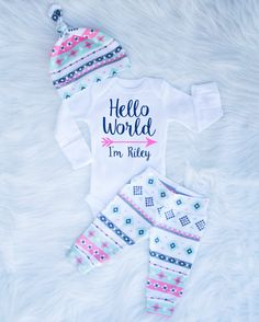 Hello World Newborn Baby Girl Coming Home Outfit by BerryBestTees