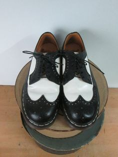 Vintage Dr. Marten's Wing Tip Shoes Black and White Oxford Lace Up Unisex