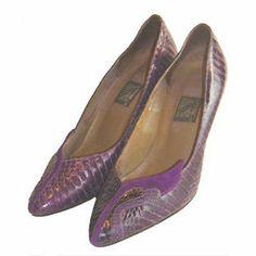 1980s J. Renee Vintage Purple Suede Snakeskin High Heel Shoes