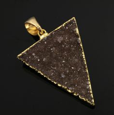 Large Druzy Triangle Pendant in Stunning Earth Tones, Heavy Gold Plated, 29x34mm, A+ Gorgeous Quality, Electroplated Edge (DZY/TRI/115) by Beadspoint on Etsy
