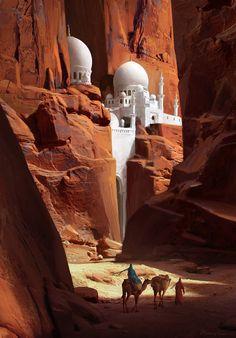 Ideas For Fantasy Desert Landscape Nature Fantasy City, Fantasy Places, Fantasy World, Fantasy Books, 3d Artwork, Fantasy Artwork, Its A Mans World, Matte Painting, Painting Art