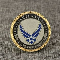 USAF Veterans challenge coins, covered by epoxy dome and polished with gold finish. Military Challenge Coins, Military Branches, Margarita, Epoxy, Thursday, Character Art, Air Force, Household, Patches