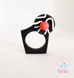 Polymer Clay - ring by Paula Cruz Polymer Clay Ring, Polymer Clay Sculptures, Polymer Clay Pendant, Contemporary Jewellery, Modern Jewelry, Jewelry Art, Jewelry Design, Sea Glass Ring, Paper Clay