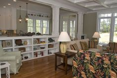 Half Wall With Column Design Ideas, Pictures, Remodel, and Decor - page 4 Living Room And Kitchen Design, Eclectic Living Room, Living Room Designs, Living Spaces, Bookshelf Room Divider, Wall Bookshelves, Bookcase Storage, Room Dividers, Bookcases