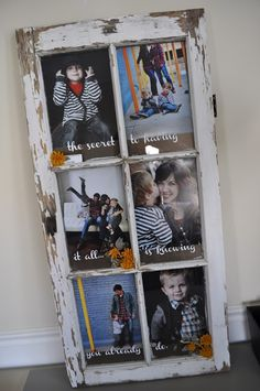 A DIY picture frame is a great upcycling project that makes a great DIY gift. This easy craft idea also adds to any DIY home decor & keep memories preserved Old Window Panes, Window Frames, Window Ideas, Window Hanging, Cadre Photo Diy, Deco Addict, Decoration Originale, Old Windows, Recycled Windows