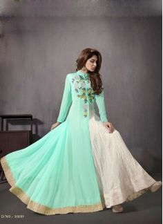 VandV New Sea-Green color Indo Western Style Anarkali Suit ..