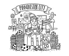 James Braithwaite - MAN CITY  illustration  http://www.itsmachas.com/talent/view/james-braithwaite  #jamesbraithwaite #ink #illustration