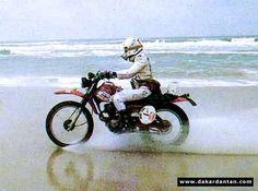 Nicole Maitrot in 1981 blasting along the beach on her Honda XR 250 during the Dakar rally.