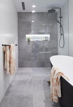The Block 2018 challenge apartment: Hayden and Sara's monochrome bathroom with concrete tiles and black accents. The Block 2018 challenge apartment: Hayden and Sara's monochrome bathroom with concrete tiles and black accents.