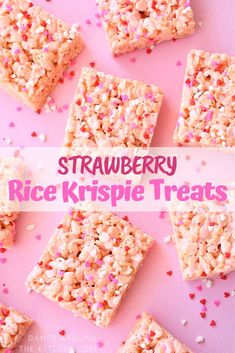 These Strawberry Rice Krispie Treats are super easy and perfect for Valentines Day! These Strawberry Rice Krispie Treats are super easy and perfect for Valentines Day! Rice Krispie Treats Variations, Rice Krispy Treats Recipe, Rice Crispy Treats, Yummy Treats, Sweet Treats, Valentines Day Food, Valentine Treats, Christmas Treats, Valentine Desserts