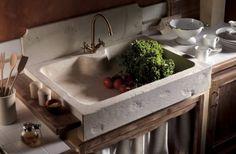 Lavello cucina massello in travertino classico scavato in finitura spazzolato