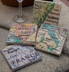 Map Coasters, Wedding Favors, Your Favorite Places on Stone, Set of 6 Map Crafts, Diy And Crafts, Arts And Crafts, Craft Gifts, Diy Gifts, Map Coasters, Stone Coasters, Decoupage, Map Globe