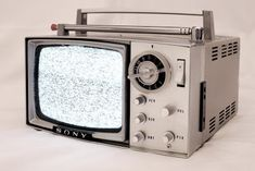 I had a little B&W TV very similar to this once. Vintage Television, Television Set, Radios, Lps, Portable Tv, Sony Tv, Antique Radio, Record Players, Vintage Tv