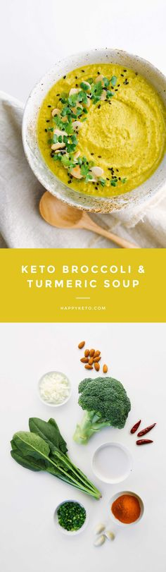 Keto broccoli soup for low carb. Easy recipe with turmeric and ginger.