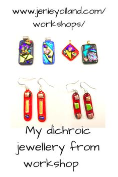 You'll have so much fun when you start your journey through our fused glass workshops. The dichroic jewellery workshop is for absolute beginners. Link here to book into our workshops. Glass Earrings, Glass Jewelry, Drop Earrings, Jewellery Workshop, Fused Glass Art, Glass Pendants, Three Dimensional, Wearable Art, Handcrafted Jewelry