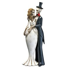 "Day of the Dead Skeleton Bride and Groom Statue-  Just dying to get hitched, our Design Toscano exclusive gothic bride and groom statue proves that love never dies! Sculpted for everlasting love with frightening details from bony fingers to smiling skulls, our matrimonial skeleton figurine is cast in quality designer resin and hand-painted to be your favorite Day of the Dead (or wedding day) sculpture.     3½""Wx2½""Dx10""H. 2 lbs."