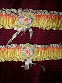 Vintage 1920s Gatsby Flapper Silk Ribbon Work Rosette Garters