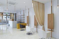 Salone Cinq is a minimal hair salon located in Osaka, Japan, designed by ninkipen! Hair Salon Interior, Salon Interior Design, Salon Design, Salon Furniture, Custom Furniture, Haircut Salon, Hair Places, Hair And Beauty Salon, Hair Shop