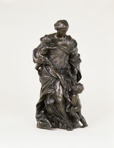 Bronze group of a mother with two children representing the Christian virtue of Charity: Italian, after a model by Alessandro Algardi, century. Christian Virtues, 17th Century, Charity, Bronze, Sculpture, Statue, Group, Children, Model