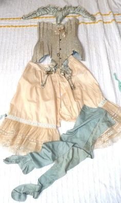 1880s corset and bloomers set