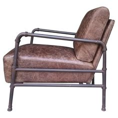 At home in a farmhouse den or chic loft apartment, this distinctive arm chair showcases a pipe-style frame and distressed leather upholstery highlighted with...