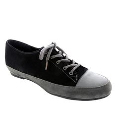 Love this Gray & Black Combo Petra Leather Sneaker on #zulily! #zulilyfinds