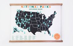 This beautifully screen-printed map lets youmark off each park you have visited with a little Green sticker. The list is for National parks only and doesn't in