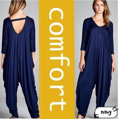 "HP 10/21EXTRA COMFY, EXTRA CUTE JUMPSUIT! FIVE COLORS! NAVY, CRANBERRY, BLACK, TEAL & CHARCOAL! Love the roominess and the overall design of this piece. Plenty of space to feel totally comfortable-looks great with flats, heels or booties. They have Dolman sleeves, so kind of hard to measure, it fits many sizes regardless of measurement. Cute cross strap in back. 95 % nylon/5% spandex. Made in USA♦️BLACK, CRANBERRY OR NAVY, TEAL & CHARCOAL♦️S: BUST ABOUT 44""♦️M: ABOUT 47""♦️L: ABOUT…"