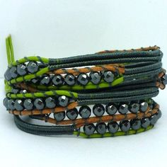 New vintage style friendship weaving leather wrap african natural stone bead bracelet adjusted size WENBING jewelry CL-497 ** Click image for more details.