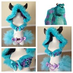 Sully inspired 3 by: electric laundry rave bras! Rave Costumes, Burlesque Costumes, Halloween Costumes, Diy Costumes, Costume Ideas, Clubbing Outfits, Edm Outfits, Rave Festival, Festival Looks