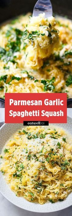 Parmesan Garlic Spaghetti Squash—just looking at the ingredients in the title, you know you'll love this. Count 15 minutes prep for this hearty dinner, made healthier with spaghetti squash. T…