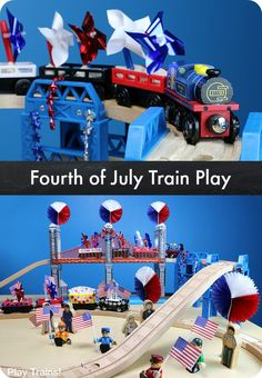 Fun ideas for celebrating the Fourth of July with a wooden train layout for kids!