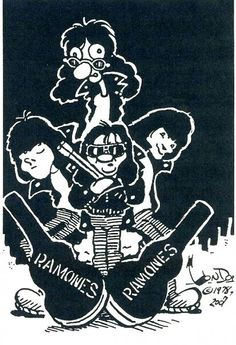 Hey ho ramones. Punk new york cbgb music cartoon