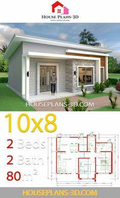 Bungalow Haus Design, Modern Bungalow House, Bungalow House Plans, Tiny House, Little House Plans, Small House Plans, Round House Plans, Little Houses, Sims House Plans